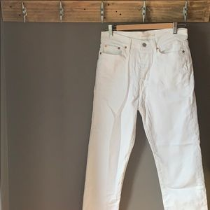 Levi's White Cropped Wedgie Straight